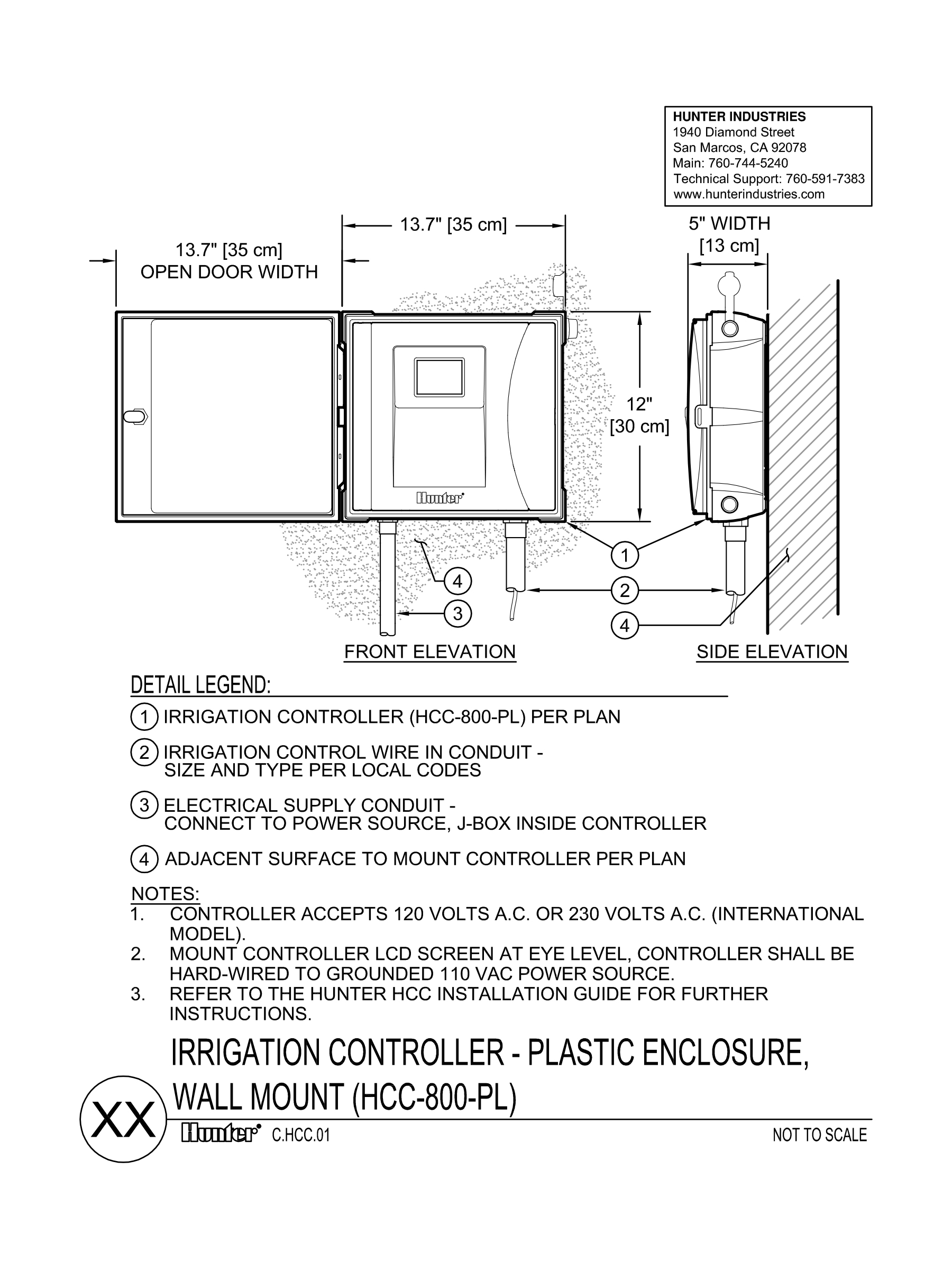 Document Library Page 3 Hunter Industries 120 240 Volt Wiring Diagram 12 Lines Cad Hcc Controller Plastic Wallmount