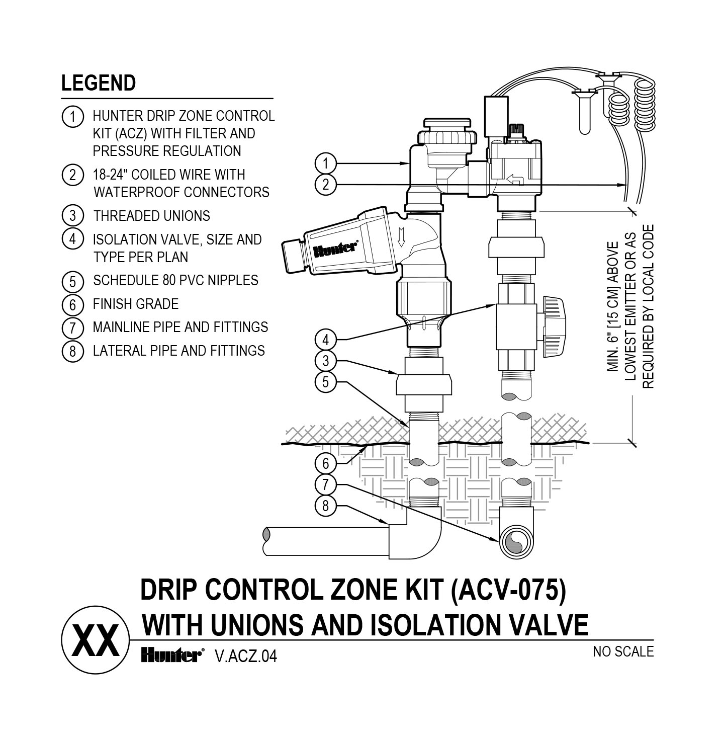 CAD - ACZ-075 with Unions and Shutoff Valve