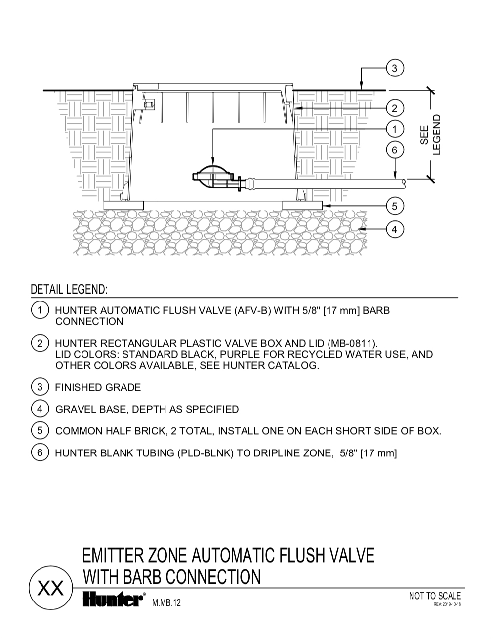 CAD - Automatic flush valve with barb connection