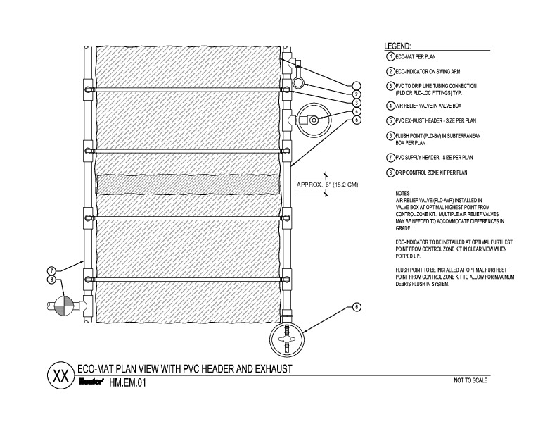 CAD - ECO-MAT Plan View with PVC Header and Exhaust