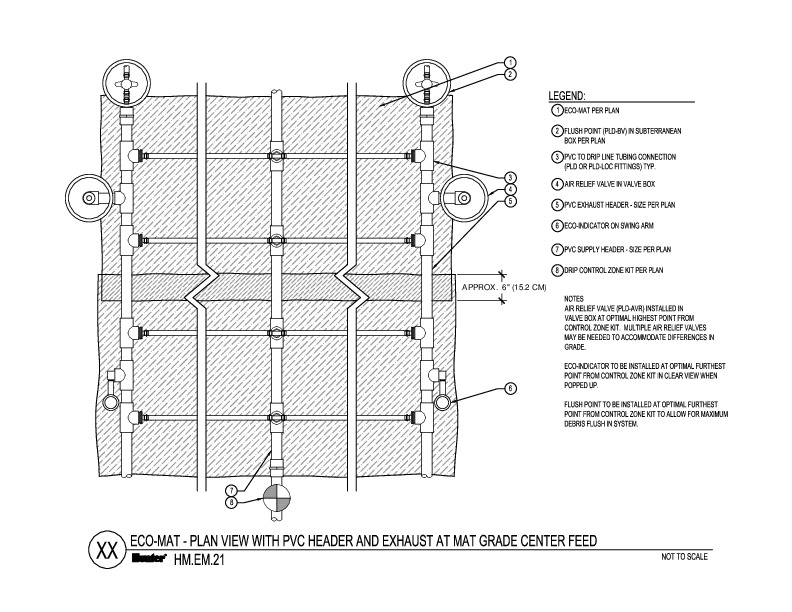 CAD - Eco-Mat Plan View with PVC Header and Exhaust at Mat Grade Center Feed