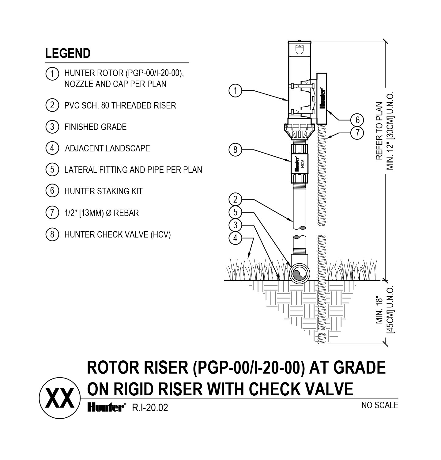 cad - i-20-00 pgp-00 on grade with rigid riser and check valve