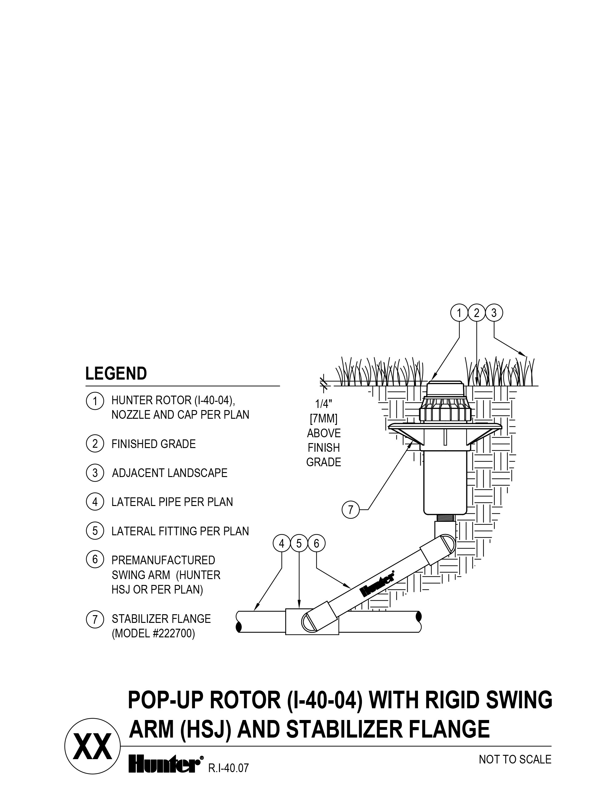 CAD - I-40-04 - Pop-up Rotor with Rigid Swing Arm (HSJ) and Stabilizer Flange