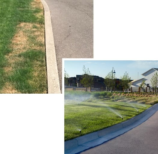 Dead grass on landscape edges next to image of green grass on landscape edges with Hunter nozzles