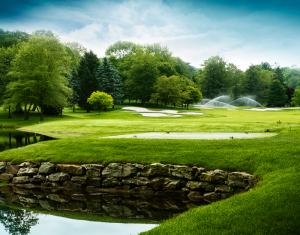 Golf Course with Sprinklers Running