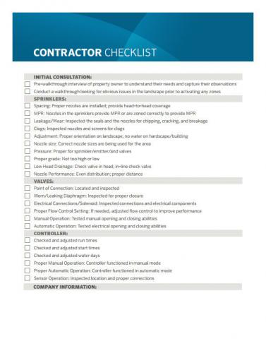 Contractor Checklist Makes Yard Irrigation Inspections