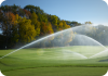 Large Golf Sprinkler Running