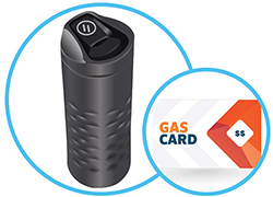 Image of gas card and travel tumbler