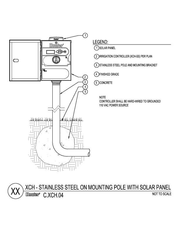 CAD - XCH SS on Mounting Pole with Solar Panel